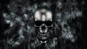 Halloween feliz Crânio humano com rendição do fumo e do fogo 3D Fotos de Stock Royalty Free