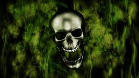 Halloween feliz Crânio humano com rendição do fumo e do fogo 3D Fotografia de Stock