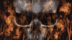 Halloween feliz Crânio humano com rendição do fumo e do fogo 3D Foto de Stock Royalty Free