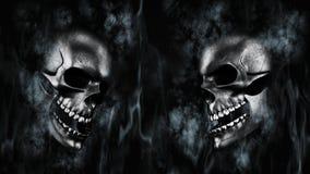 Halloween feliz Crânio humano com rendição do fumo e do fogo 3D Fotos de Stock