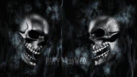Halloween feliz Crânio humano com rendição do fumo e do fogo 3D Fotografia de Stock Royalty Free