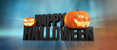 Halloween feliz Dia das Bruxas 3d rende Abóboras de Halloween Fotografia de Stock Royalty Free