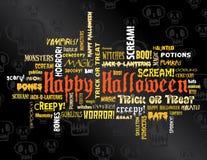 Halloween feliz e outras palavras assustadores Fotos de Stock Royalty Free