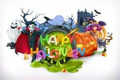 Halloween feliz emblema do vetor 3d Fotografia de Stock