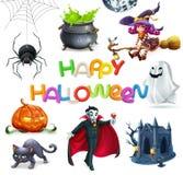 Halloween feliz grupo do ícone do vetor 3d Fotos de Stock