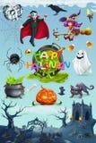 Halloween feliz grupo do ícone do vetor 3d Imagem de Stock