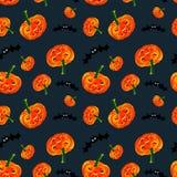 Halloween feliz Teste padrão sem emenda das abóboras azul Imagem de Stock