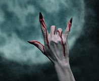 Halloween-Felsenhandzeichen Stockfoto