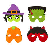 Halloween Felt Face Masks Isolated on White Royalty Free Stock Photos
