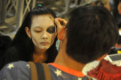 Halloween festival in Indonesia. Teenagers get ready to follow the Halloween festival in Surakarta, Indonesia Stock Image