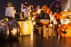 Halloween festival party house decoration with ghosts and monsters toy doll having fun together at night. Festival Celebration, Ho royalty free stock photos