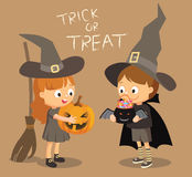 Halloween festival trick or treat, costumed boy and girl Stock Photography