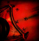 Halloween festive background. Abstract dark red backdrop, many creepy spiders on Dracula collar, tall hat, post card, horror and evil concept Royalty Free Stock Images