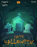 Halloween festive poster card, party invitation template Royalty Free Stock Photography