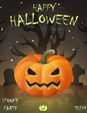 Halloween festive poster card, party invitation template Royalty Free Stock Images