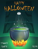 Halloween festive poster card, party invitation template Stock Photo
