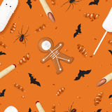 Halloween festive seamless pattern. Vector illustration with cookies in form of skeleton gingerbread man. Top view on spiders, paper bats and confetti on orange Royalty Free Stock Photo