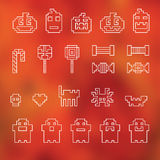Halloween festive seamless pixel pattern in vector. On blurred background stock photography