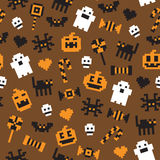 Halloween festive seamless pixel pattern in vector. With various Halloween icons Stock Photo