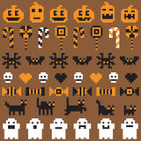 Halloween festive seamless pixel set in vector. With various icons Stock Photos