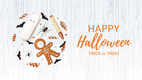 Halloween festive web banner with treats. Vector illustration with cookies in form of skeleton gingerbread man. Top view on spiders, paper bats and confetti on Stock Image