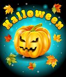 Halloween, feuilles d'automne, fond coloré de caractère de potiron Illustration de vecteur Photo libre de droits