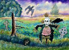 Halloween Field with Funny Scarecrow Skeleton Hand and Crows. A typical Halloween landscape, a field at dusk with a funny scarecrow, some crows, a skeleton hand Royalty Free Stock Photos