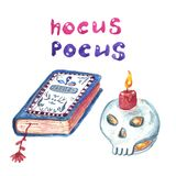 Halloween fijó de iconos, de vela del cráneo y del libro pintados a mano de la bruja de encantos Colección mágica de los símbolos ilustración del vector