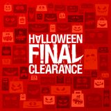 Halloween final clearance vector poster. Halloween sale design, scary paper bags silhouettes red backdrop Stock Photos