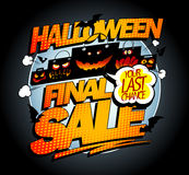 Halloween final sale banner concept with scary bags and  bats, pop-art style. Concept Stock Image