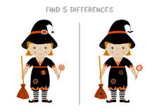 Halloween find differences game for kids. Halloween themed spot the difference educational game for kids, Witch with broom and candy. A4 format ready for print Stock Images