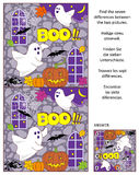 Halloween find the differences picture puzzle with two little ghosts. Halloween themed visual puzzle: Find the seven differences between the two pictures of Royalty Free Stock Image