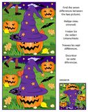 Halloween find the differences picture puzzle with witch hat, pumpkins, bats, etc. Halloween themed visual puzzle: Find the seven differences between the two stock illustration