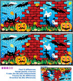 Halloween find the 10 differences visual puzzle Royalty Free Stock Image