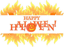 Halloween fire banner illustration design Royalty Free Stock Photos