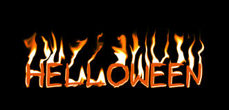 Halloween in Fire Isolated on Black. Halloween in Fire Isolated on Black Background Royalty Free Stock Photography