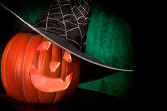 Halloween, Fire Smolders in a Pumpkin stock photo