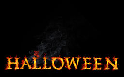 Halloween Fire Text. Burning Halloween text on black background Royalty Free Stock Images