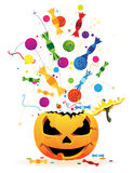 Halloween fireworks. Fireworks with candy and confetti from the laughing pumpkin heads Stock Photo