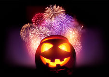 Halloween Fireworks Party. Glowing Jack O' Lantern pumpkin with a fireworks display event Stock Images