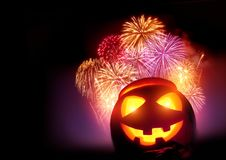 Halloween Fireworks Party. With a glowing pumpkin, October celebrations Stock Image