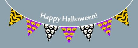 Halloween flags. Vector illustration. Halloween flags in modern line style. Vector illustration royalty free illustration