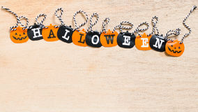 Halloween flags  on wooden background Royalty Free Stock Photography