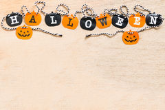 Halloween flags  on wooden background Stock Image
