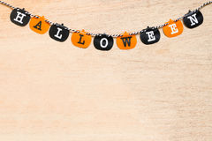 Halloween flags  on wooden background Stock Images