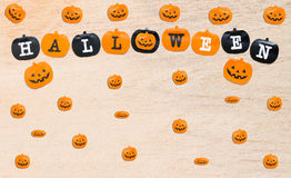 Halloween flags  on wooden background Royalty Free Stock Photos