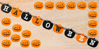 Halloween flags  on wooden background Royalty Free Stock Images