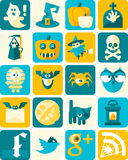 Halloween Flat Icons with Background Stock Image
