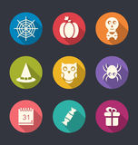 Halloween Flat Icons. Illustration of Halloween Flat Icons with Long Shadows - vector Stock Photos