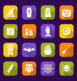Halloween Flat Icons with Long Shadows Stock Photos
